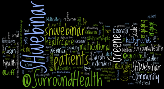 A wordcloud via wordle.net--formed by tweets from the live webinar!